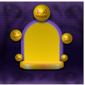 Happy halloween background with podium display and pumpkins ball