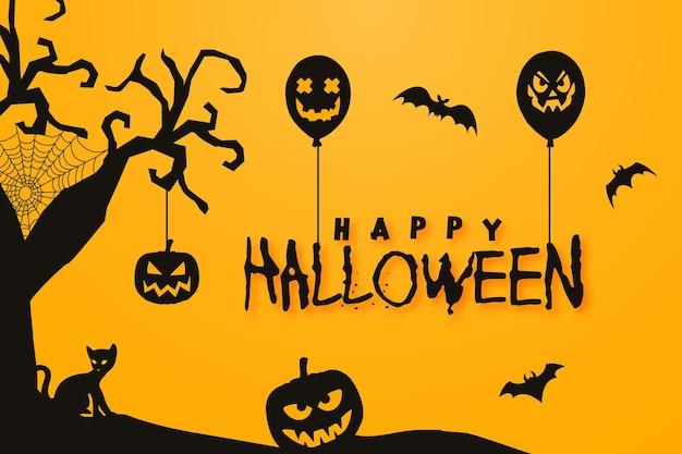 Счастливый хэллоуин фон с тыквенными летучими мышами, воздушным шаром и сухим деревом с висячими украшениями