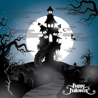 Happy halloween background with pumpkin haunted house and full moon invitation template