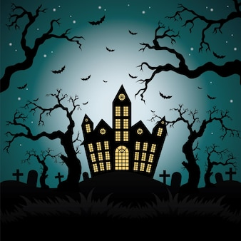 Happy halloween background with pumpkin haunted house and full moon vector illustration