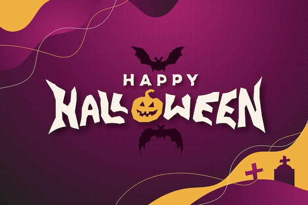 Счастливый хэллоуин фон с тыквами и летучими мышами и специальным художественным текстом