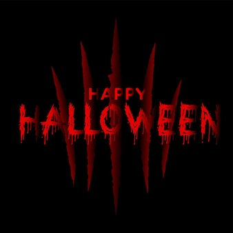 Happy halloween background with red claw scrach. vector