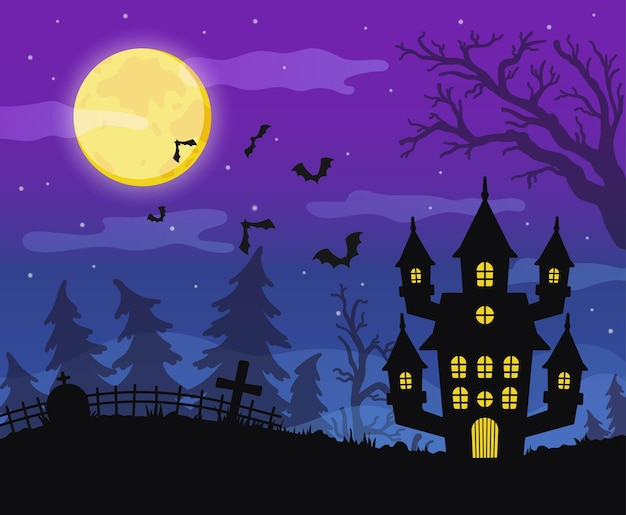 Happy halloween background with a scary withes house and scary forest