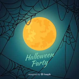 Happy halloween background with spider web and full moon