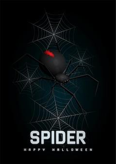 Happy halloween background with spider