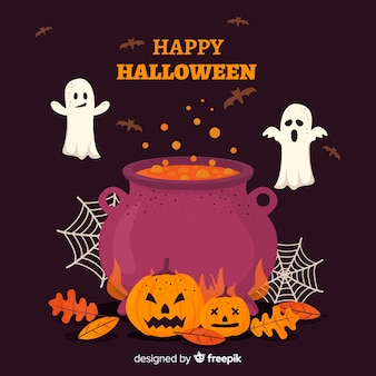 Happy halloween background with witch cauldron