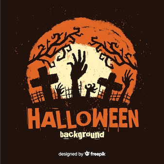 Happy halloween background with zombie hand and cemetery