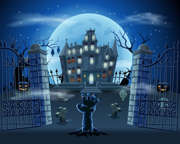 Happy halloween background with zombie hand from the ground on graveyard with haunted house, pumpkins and full moon