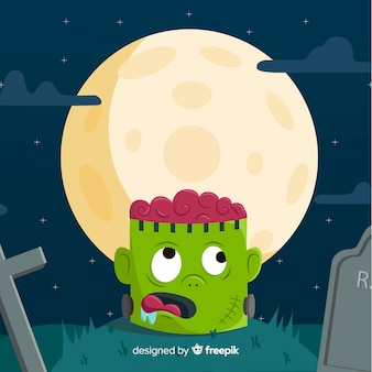 Happy halloween background with zombie head in cemetery