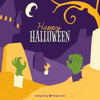 Счастливый фон хэллоуина с руками зомби