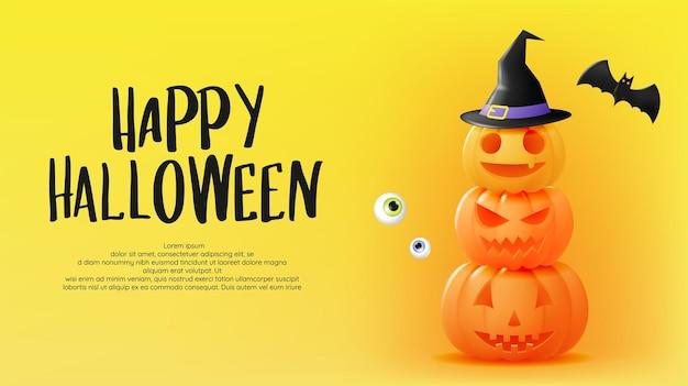 Счастливый хэллоуин баннер искусство фон с тыквой векторные иллюстрации
