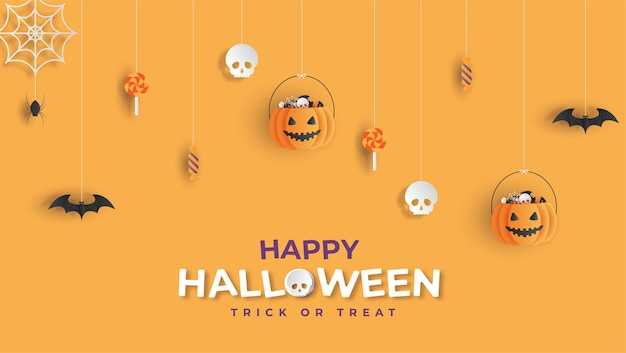 Happy halloween banner background papercut style