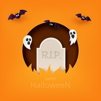 Happy halloween banner background template paper art style.tombstone with flying ghost and bats.
