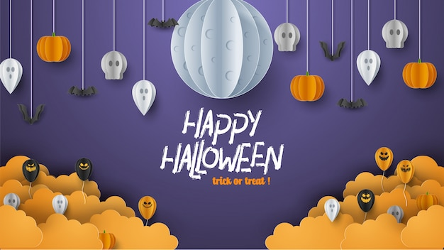Happy halloween banner background with clouds and pumpkins in paper cut style. full moon in the sky, spiders web, skull, ghost and flying bats.