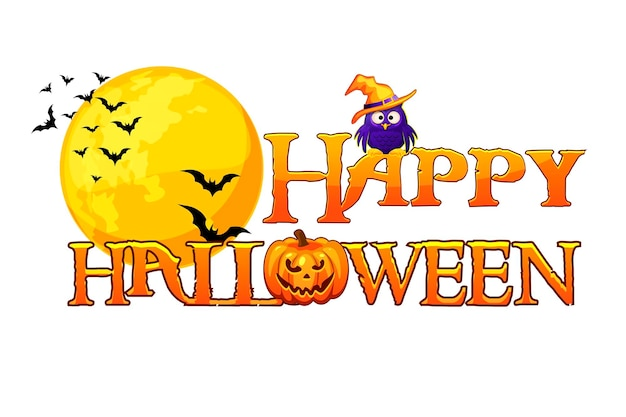 Happy halloween banner background with full moon. happy halloween poster, card design concept. vector illustration