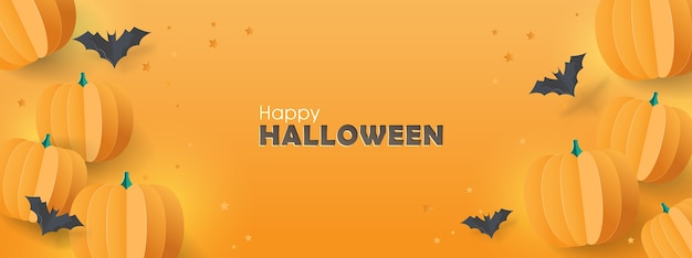 Happy halloween banner background with paper bats and pumpkins.