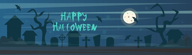 Happy halloween banner cemetery graveyard with grave stones at night