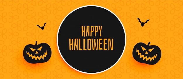 Happy halloween banner design with pumpkin and flying bats