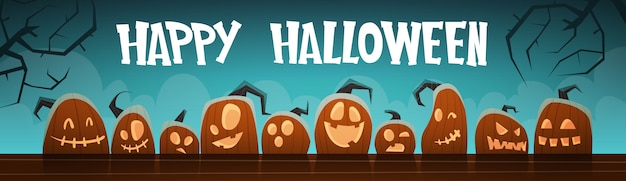 Happy halloween banner different pumpkins traditional decoration