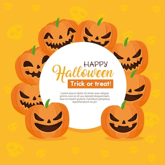 Happy halloween banner and frame circular with pumpkins