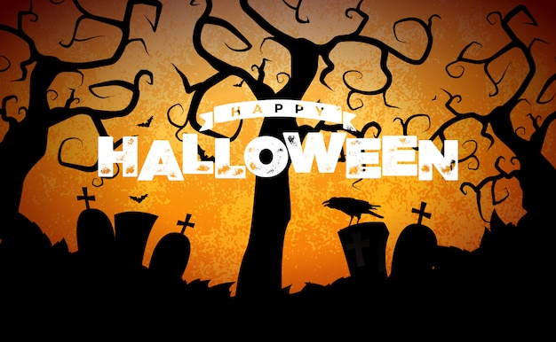 Happy halloween banner illustration with cemetery