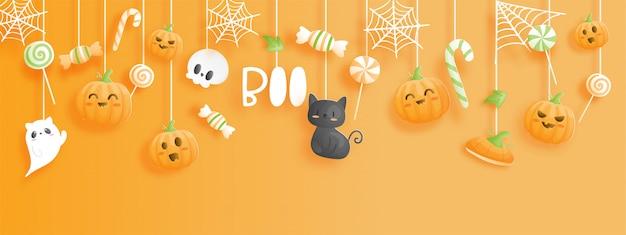 Счастливый хэллоуин баннер в стиле вырезки из бумаги.
