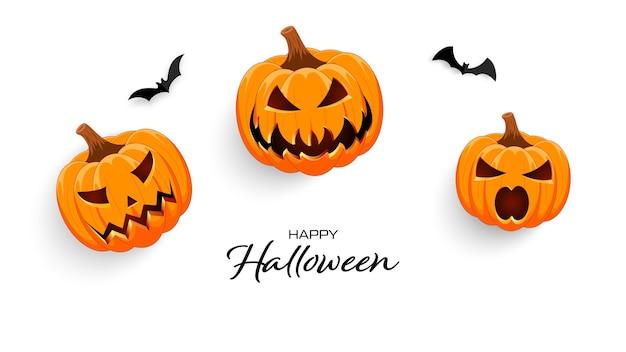 Счастливого хэллоуина. баннер на белом фоне с тыквами и летучими мышами.