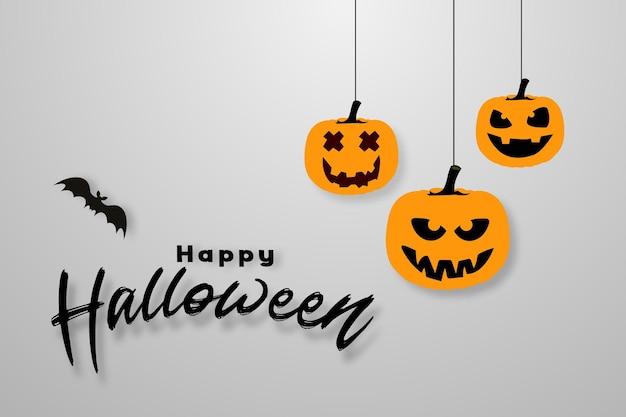 Счастливый хэллоуин баннер или приглашение на вечеринку фон с летучей мышью и повешенными тыквами с пространством для текста