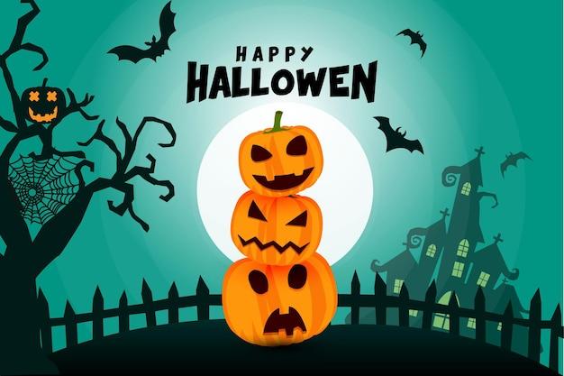 Счастливый хэллоуин баннер или приглашение на вечеринку фон с паутиной и жутким замком