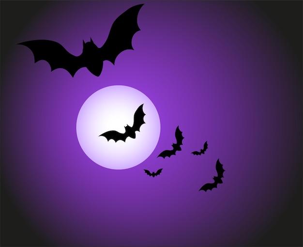 カボチャの暗い家とコウモリと幸せなハロウィーンのバナーやパーティの招待状の背景