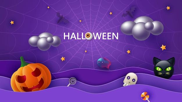 Счастливый хэллоуин баннер или приглашение на вечеринку фон с грозовыми облаками, летучими мышами, кошкой и забавными тыквами i векторные иллюстрации.