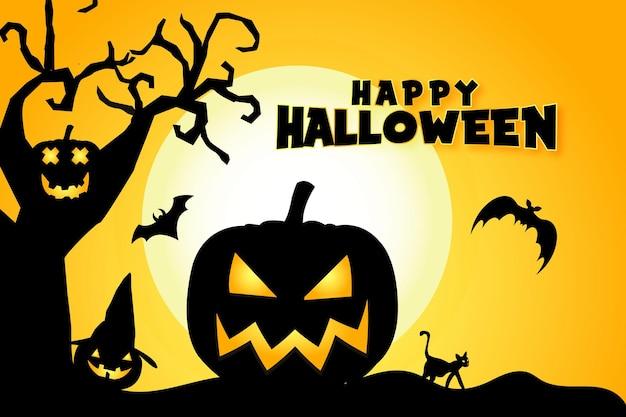 Счастливый хэллоуин баннер или приглашение на вечеринку фон с летучими мышами, тыквами, кошками и сухим деревом