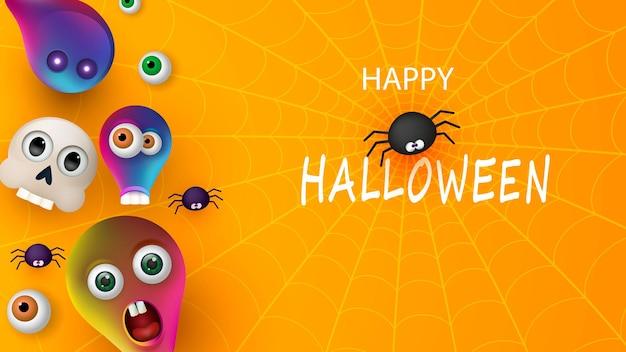 Счастливый хэллоуин баннер или приглашение на вечеринку оранжевый фон с пауками и монстрами. векторная иллюстрация. место для текста