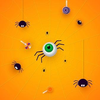 紙カットスタイルのクモとお菓子とハッピーハロウィンバナーまたはパーティの招待状オレンジ色の背景。ベクトルイラスト。