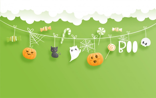 Счастливый баннер хэллоуина. иллюстрация вырезки из бумаги.