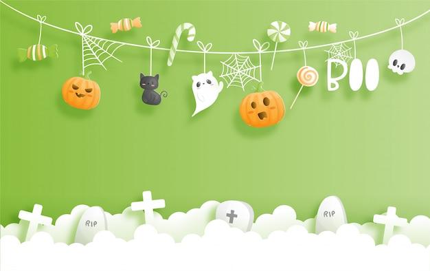 Счастливый баннер хэллоуина. иллюстрация стиля вырезки бумаги.