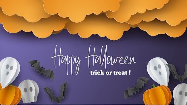 Happy halloween banner in paper cut style.