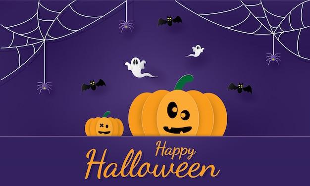 Happy halloween banner, paper cut