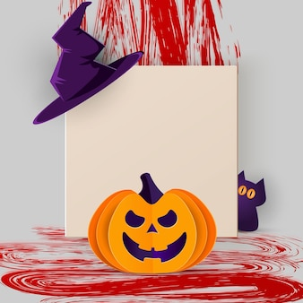 Happy halloween banner or party invitation background with cat, evil pumpkin and square frame in paper cut style. vector illustration.
