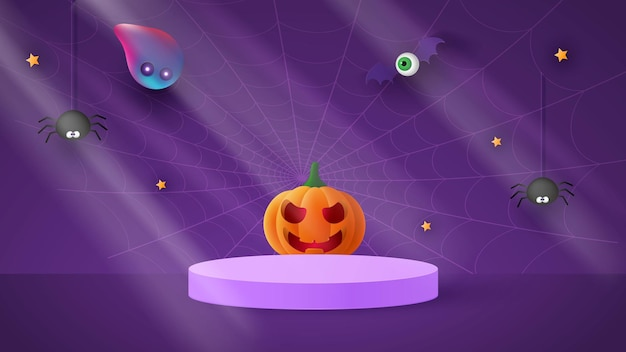 Happy halloween banner or party invitation background with ghost and funny pumpkins vector illustration. full moon in the sky,moonlight