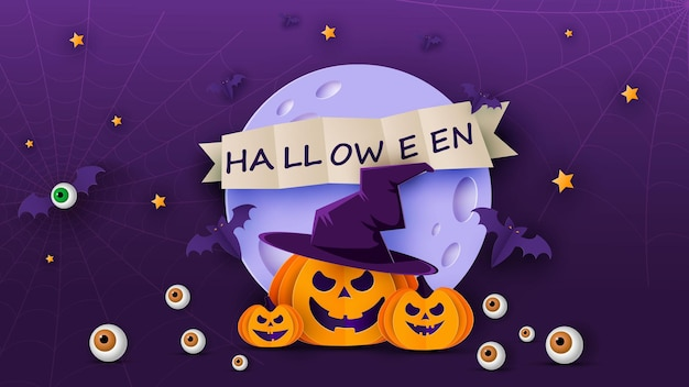 Happy halloween banner or party invitation background with moon, bats and funny pumpkins in paper cut style. vector illustration. full moon in the sky, spider webs and stars. place for text