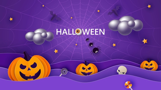 Happy halloween banner or party invitation background with moon, bats and funny pumpkins in paper cut style. vector illustration. full moon in the sky, spider webs and stars.
