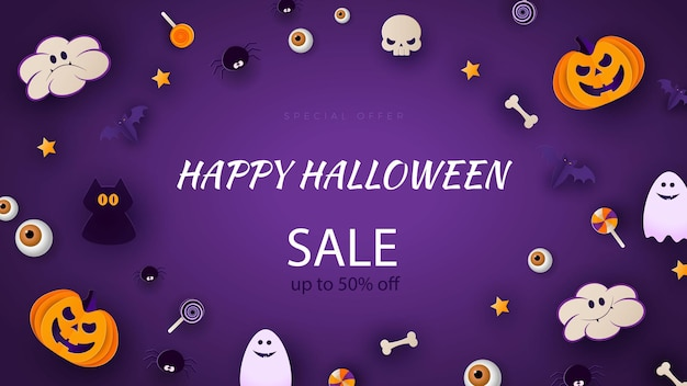 Happy halloween banner or party invitation background with moon, bats and funny pumpkins in paper cut style. vector illustration. purple background