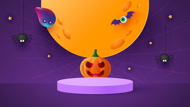 Happy halloween banner or party invitation background with moon, bats and funny pumpkins vector illustration. full moon in the sky, spider webs and stars.