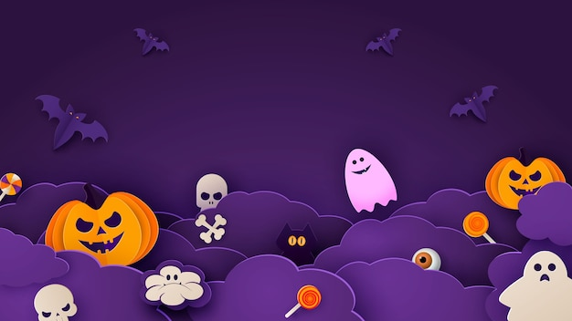 Happy halloween banner or party invitation background with night clouds and pumpkins in paper cut style.
