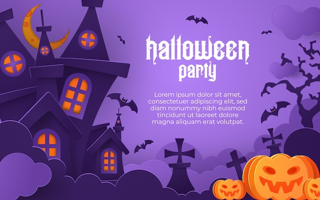 Happy halloween banner or party invitation background with night clouds and pumpkins in paper cut style