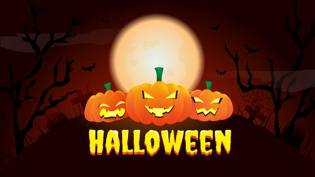 Happy halloween banner or party invitation background with night