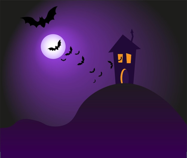 Happy halloween banner or party invitation background with pumpkin dark house and bats