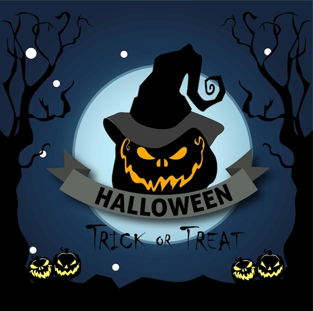 Happy halloween banner or party invitation background with pumpkins