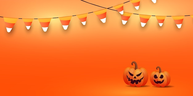Happy halloween banner or party invitation background with stylish pumpkin faces, glowing candy garlands on orange gradient background.